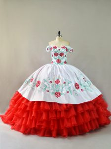 White And Red Organza Lace Up Off The Shoulder Sleeveless Sweet 16 Dress Court Train Embroidery and Ruffled Layers