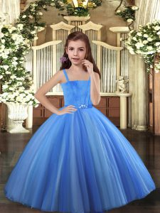 Sleeveless Lace Up Floor Length Beading Kids Formal Wear