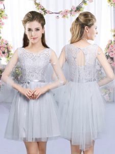 Inexpensive Sleeveless Mini Length Lace and Belt Lace Up Dama Dress for Quinceanera with Grey