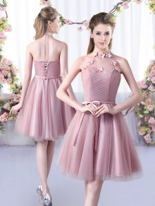 Fine Knee Length Pink Quinceanera Court Dresses Halter Top Sleeveless Lace Up