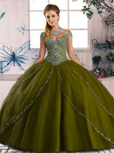 Delicate Ball Gowns Cap Sleeves Olive Green 15 Quinceanera Dress Brush Train Lace Up