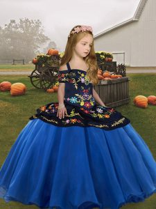Fancy Blue Ball Gowns Embroidery Child Pageant Dress Lace Up Organza Sleeveless Floor Length