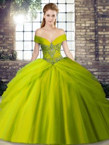 Wonderful Olive Green Sleeveless Brush Train Beading and Pick Ups Vestidos de Quinceanera