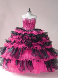 Pink And Black 15 Quinceanera Dress Sweet 16 and Quinceanera with Beading and Ruffled Layers Sweetheart Sleeveless Lace Up