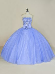 Vintage Sleeveless Tulle Floor Length Lace Up Quince Ball Gowns in Lavender with Beading and Sequins