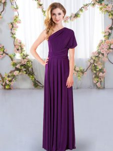 New Style Sleeveless Chiffon Floor Length Criss Cross Vestidos de Damas in Purple with Ruching