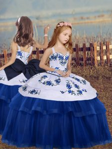 Perfect Blue Lace Up Little Girls Pageant Dress Wholesale Embroidery Sleeveless Floor Length