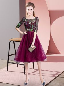 High End Fuchsia Empire Tulle Scoop Half Sleeves Embroidery Knee Length Lace Up Vestidos de Damas