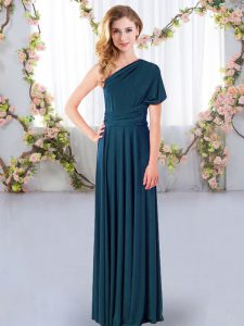Flare One Shoulder Sleeveless Criss Cross Quinceanera Dama Dress Teal Chiffon