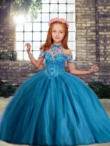Trendy Blue Tulle Lace Up High-neck Sleeveless Floor Length Little Girls Pageant Dress Beading