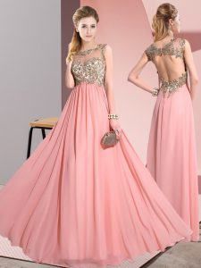 Floor Length Pink Quinceanera Court Dresses Scoop Sleeveless Backless
