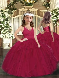 Burgundy Sleeveless Floor Length Ruffles and Ruching Zipper Little Girl Pageant Dress