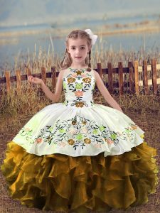 Adorable Brown Scoop Neckline Embroidery and Ruffles Little Girls Pageant Gowns Sleeveless Lace Up