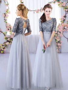 Comfortable Grey Empire Scoop Half Sleeves Tulle Floor Length Lace Up Appliques Dama Dress for Quinceanera