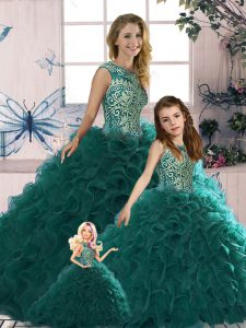 Eye-catching Peacock Green Quinceanera Dress Military Ball and Sweet 16 and Quinceanera with Beading and Ruffles Scoop Sleeveless Lace Up