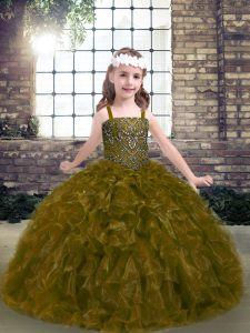Elegant Straps Sleeveless Lace Up Little Girls Pageant Dress Olive Green Organza