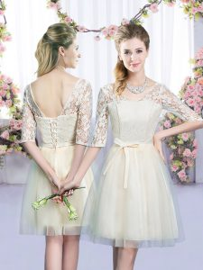 V-neck Half Sleeves Dama Dress Mini Length Lace and Bowknot Champagne Tulle