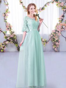 Half Sleeves Floor Length Lace and Belt Side Zipper Dama Dress with Light Blue