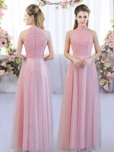 Pink Sleeveless Tulle Zipper Vestidos de Damas for Wedding Party