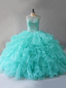 Aqua Blue Sleeveless Organza Lace Up Sweet 16 Quinceanera Dress for Sweet 16 and Quinceanera