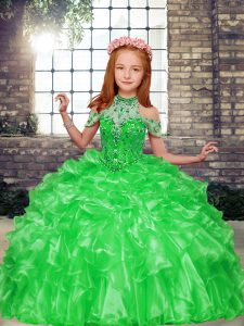 Ball Gowns Child Pageant Dress High-neck Organza Sleeveless Floor Length Lace Up