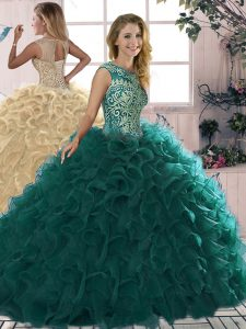 Fine Sleeveless Floor Length Beading and Ruffles Lace Up 15 Quinceanera Dress with Peacock Green