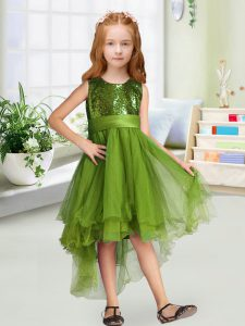 Beauteous Olive Green Girls Pageant Dresses Wedding Party with Sequins and Bowknot Scoop Sleeveless Zipper