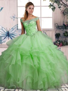 Designer Beading and Ruffles 15th Birthday Dress Green Lace Up Sleeveless Floor Length