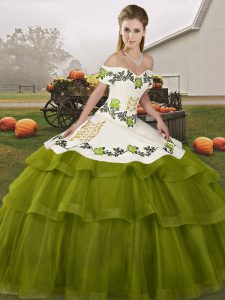 Hot Selling Olive Green Tulle Lace Up Off The Shoulder Sleeveless Quince Ball Gowns Brush Train Embroidery and Ruffled Layers