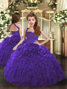 Latest Purple Lace Up Little Girl Pageant Gowns Ruffles Sleeveless Floor Length