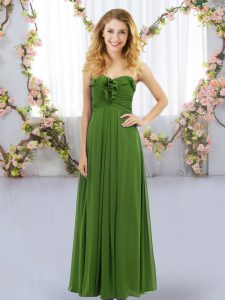 Fantastic Empire Damas Dress Olive Green Sweetheart Chiffon Sleeveless Floor Length Lace Up