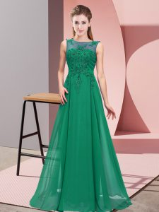 Beading and Appliques Quinceanera Court of Honor Dress Dark Green Zipper Sleeveless Floor Length