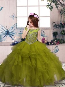 Organza Scoop Sleeveless Lace Up Beading and Ruffles Little Girl Pageant Gowns in Olive Green