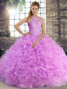 Sophisticated Lilac Sleeveless Floor Length Beading Lace Up Sweet 16 Dresses