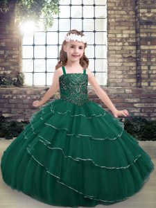 Popular Straps Sleeveless Lace Up Girls Pageant Dresses Peacock Green Lace