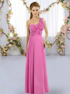 Floor Length Lace Up Dama Dress for Quinceanera Rose Pink for Wedding Party with Hand Made Flower