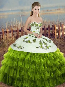 Olive Green Sleeveless Embroidery and Ruffled Layers and Bowknot Floor Length Quinceanera Gown