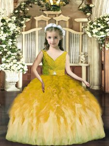 Latest Olive Green Sleeveless Floor Length Beading and Ruffles Backless Little Girls Pageant Gowns