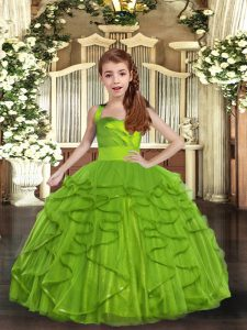 Olive Green Tulle Lace Up Little Girls Pageant Dress Wholesale Sleeveless Floor Length Ruffles