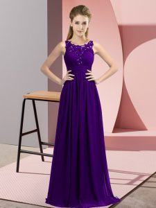 Exquisite Chiffon Scoop Sleeveless Zipper Beading and Appliques Quinceanera Court of Honor Dress in Purple