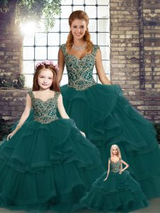 Shining Peacock Green Sleeveless Beading and Ruffles Floor Length 15 Quinceanera Dress