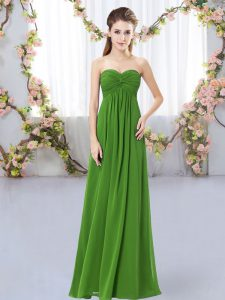 Green Empire Sweetheart Sleeveless Chiffon Floor Length Zipper Ruching Dama Dress
