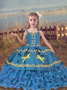 New Arrival Blue Sleeveless Organza Lace Up Little Girls Pageant Dress for Wedding Party