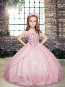 Ball Gowns Kids Formal Wear Lilac Straps Tulle Sleeveless Floor Length Lace Up