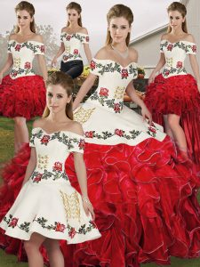 Glorious White And Red Ball Gowns Off The Shoulder Sleeveless Organza Floor Length Lace Up Embroidery and Ruffles Quinceanera Gowns