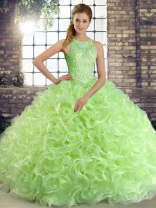 Stunning Scoop Sleeveless Fabric With Rolling Flowers Vestidos de Quinceanera Beading Lace Up