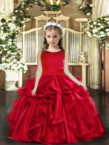 Cute Organza Scoop Sleeveless Lace Up Ruffles Little Girl Pageant Gowns in Red