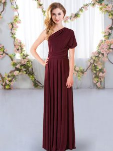Floor Length Burgundy Quinceanera Dama Dress One Shoulder Sleeveless Criss Cross