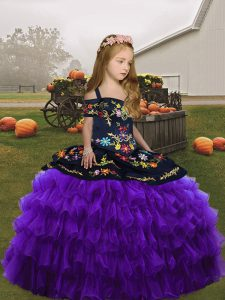 Purple Child Pageant Dress Embroidery Sleeveless Floor Length