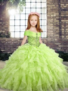 Lovely Yellow Green Sleeveless Organza Lace Up Little Girls Pageant Gowns for Party and Wedding Party